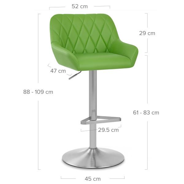Chaise de Bar Simili Cuir Chrome Brossé - Detroit Vert