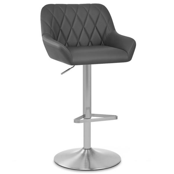 Chaise de Bar Simili Cuir Chrome Brossé - Detroit