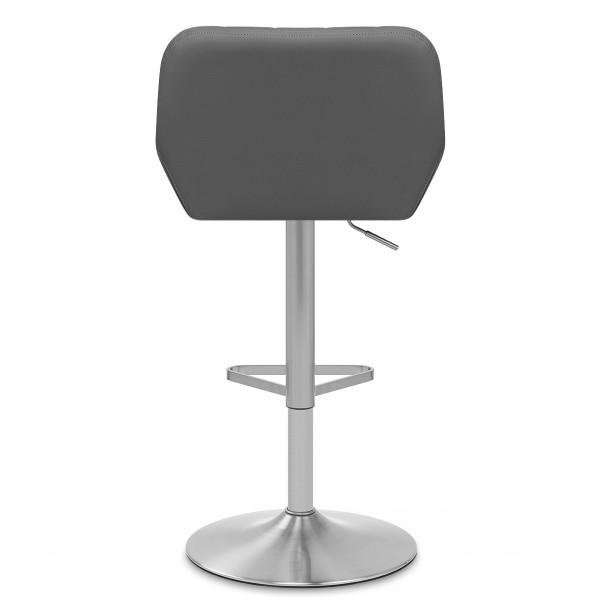 Chaise de Bar Simili Cuir Chrome Brossé - Detroit Gris