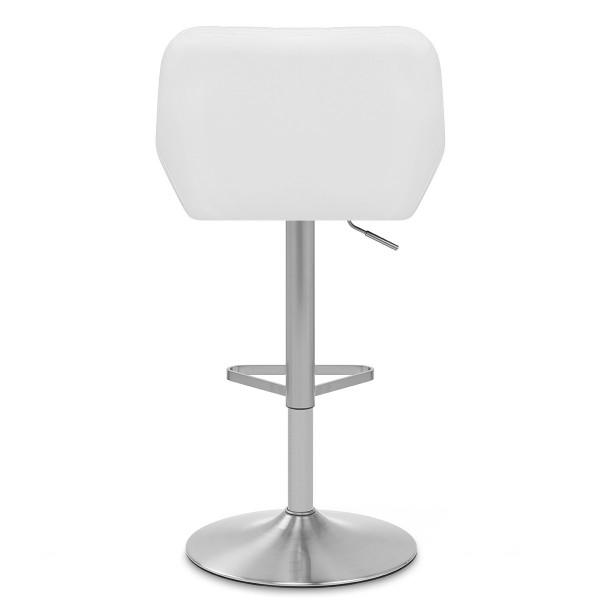 Chaise de Bar Simili Cuir Chrome Brossé - Detroit Blanc