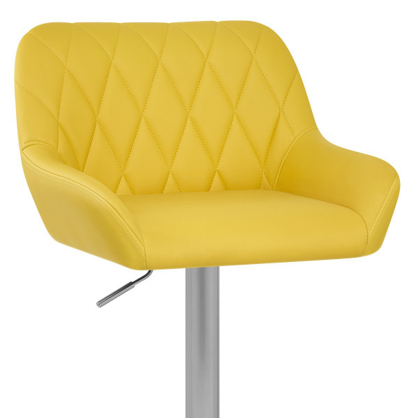 Chaise de Bar Simili Cuir Chrome Brossé - Detroit Jaune