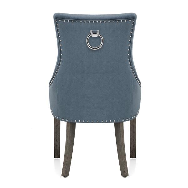 Chaise Bois Gris Tissu - Ascot Bleu