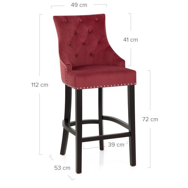 Chaise de Bar Bois Tissu - Ascot Rouge