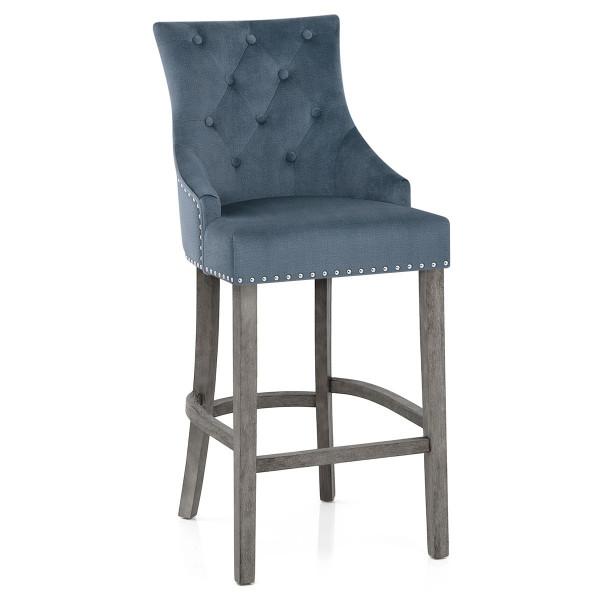 Chaise de Bar Bois Gris Tissu - Ascot