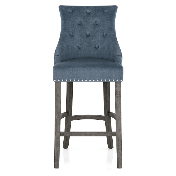 Chaise de Bar Bois Gris Tissu - Ascot Bleu