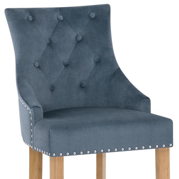 Chaise de Bar Chêne Tissu - Ascot Bleu