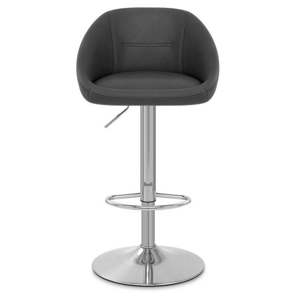 Chaise de Bar Faux Cuir - Decco Gris Foncé