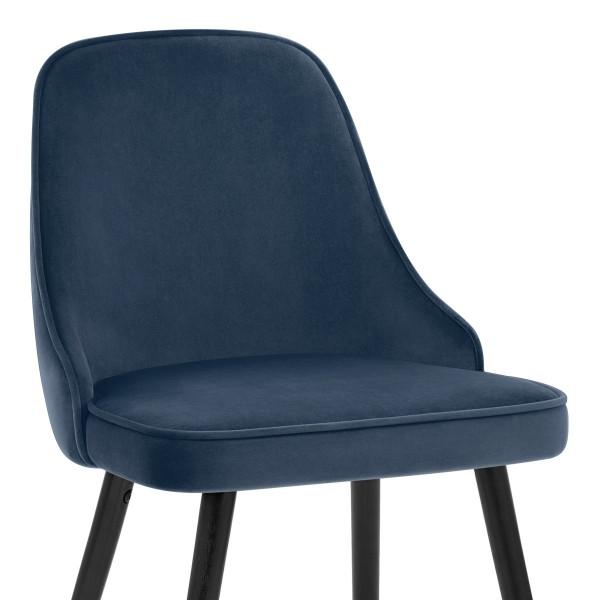 Chaise Bois Velours - Glam Bleu