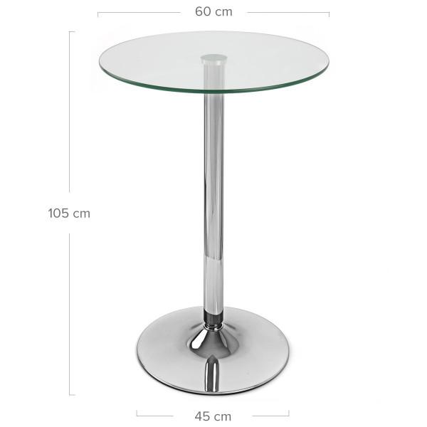 Table de Bar Chrome - Vetro Poseur Transparent