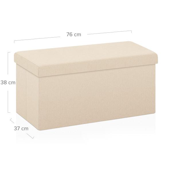 Tabouret de Rangement Tissu - Tiffany Crème