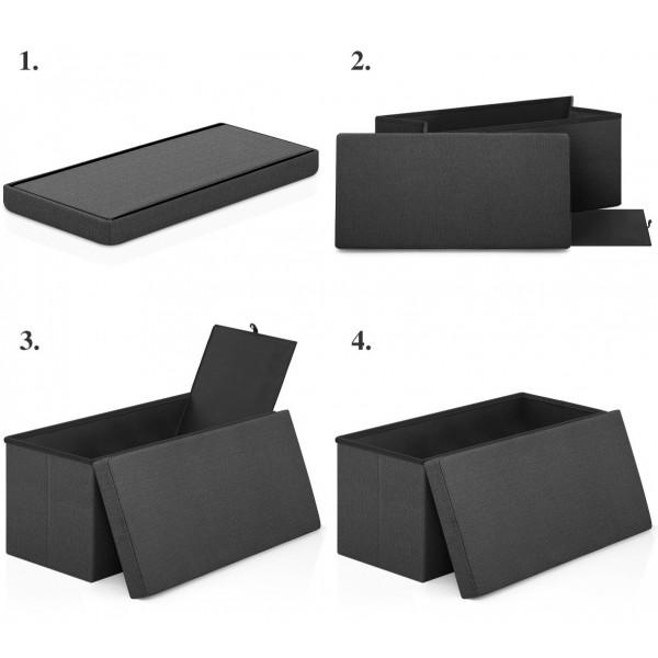 Tabouret de Rangement Tissu - Tiffany Noir