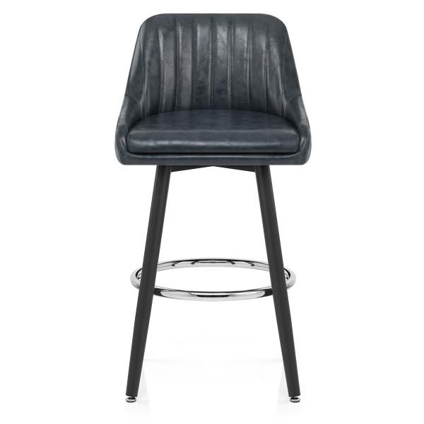 Chaise de Bar Bois Faux Cuir Antique - Hamilton Gris