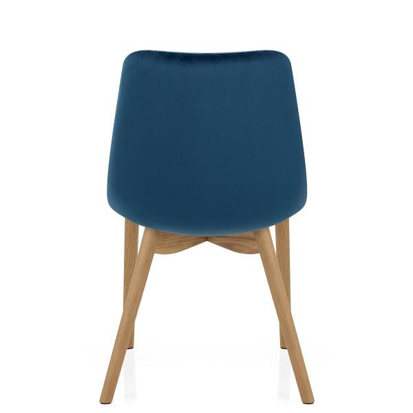 Chaise Velours Chêne - Kobe Bleu