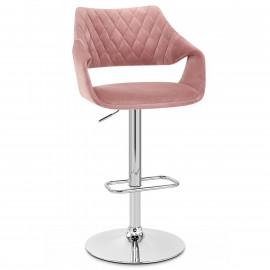 Chaise de Bar Chrome Velours - Fairfield