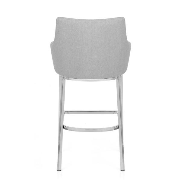 Chaise de Bar Chrome Tissu - Orion Gris