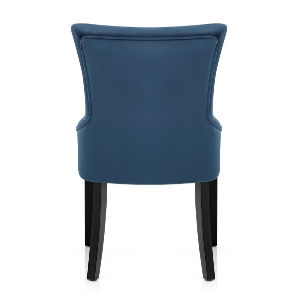 Chaise Velours Bois Noir - Verdi Bleu