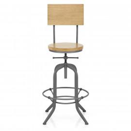 Chaise de bar Bois - Lathe Gris