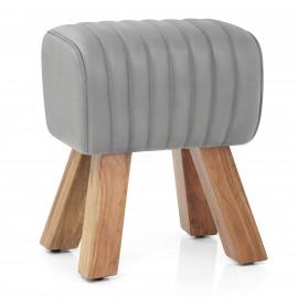 Tabouret Cuir Véritable Bois - Mini Pommel