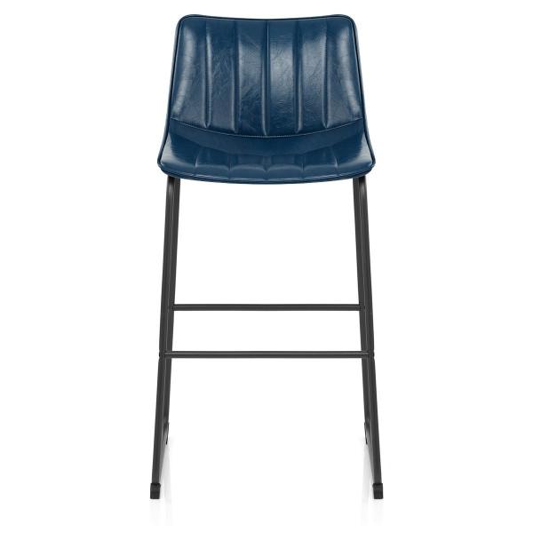 Chaise de Bar Faux Cuir - Tucker Bleu