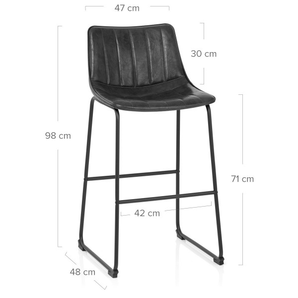 Chaise de Bar Faux Cuir - Tucker Noir