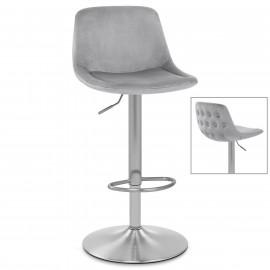 Chaise de Bar Chrome Brossé Velours - Scoop