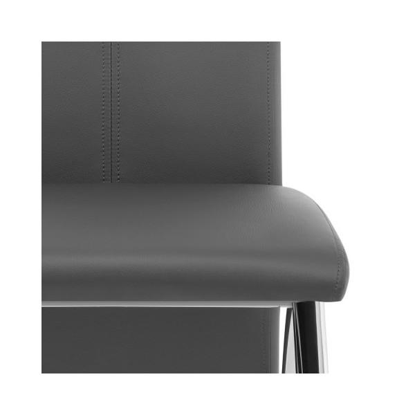 Chaise Faux Cuir Chrome - Dali Noir