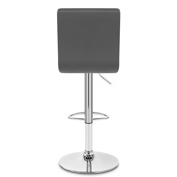 Chaise de Bar Faux Cuir Chrome - Criss Cross Gris